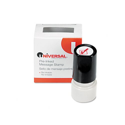 Universal® Round Message Stamp, Check Mark, Pre-Inked/Re-Inkable