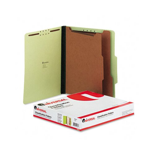 Universal® Pressboard Classification Folder, Letter, Six-Section, 10/Box