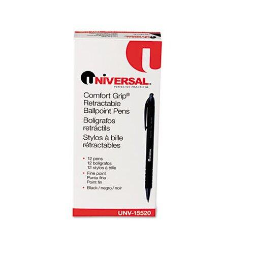 Universal® Comfort Grip Ballpoint Retractable Pen, 12/Pack