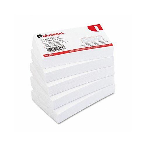 Universal® Unruled Index Cards, 3 x 5, White, 500 per Pack