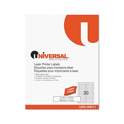 Universal® Laser Printer File Folder Labels, 750/Box
