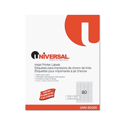 Universal® Inkjet Printer Labels, 2000/Pack