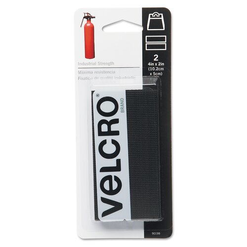 VELCRO USA Inc Industrial Strength Sticky-Back Hook and Loop Fastener Strips, 4 X 2