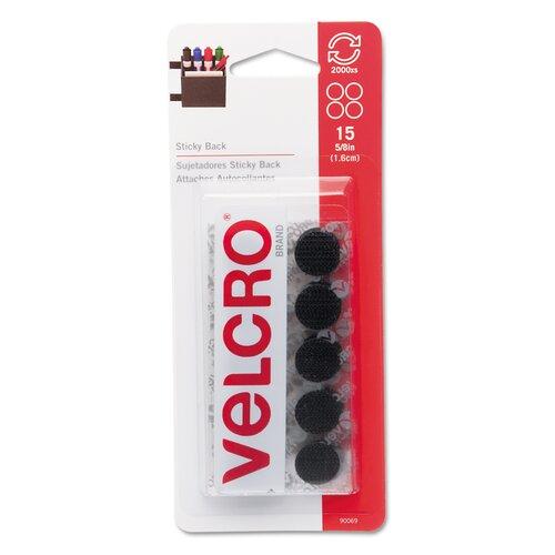 "VELCRO USA Inc Sticky-Back Hook & Loop Dot Fasteners on Strips, 5/8"" dia, Black, 15 Sets/Pack"