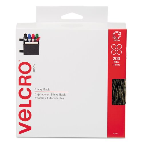 """VELCRO USA Inc Sticky-Back Hook and Loop Dot Fasteners, Dispenser, 3/4"""", 200/Roll"""