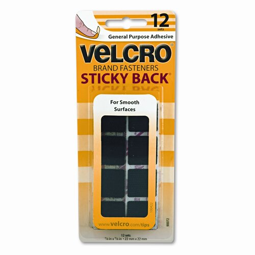"VELCRO USA Inc Sticky-Back Hook & Loop Square Fasteners on Strips, 7/8""w, Black, 12 Sets/Pack"
