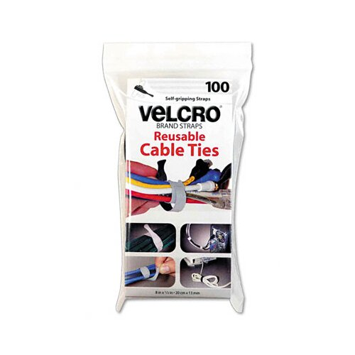 "VELCRO USA Inc Reusable Self-Gripping Cable Ties, 1/2"" x 8"", 100 Ties/Pack"