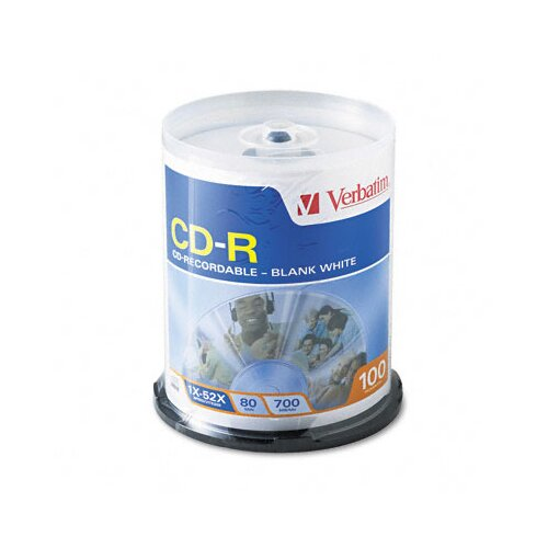 Verbatim Corporation Spindle Cd-R Discs, 700Mb/80Min, 52X, Spindle, 100/Pack