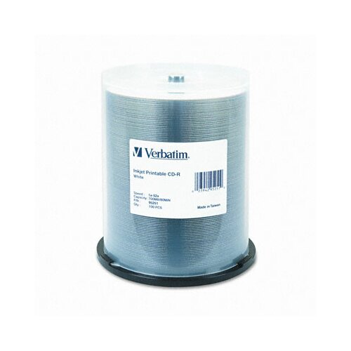 Verbatim Corporation Inkjet Printable Cd-R, 52X, 700Mb, Inkjet Printable, 100/Spindle