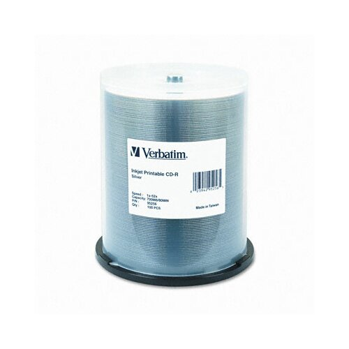Verbatim Corporation Inkjet Printable Cd-R, 52X, 700Mb, 100/Spindle