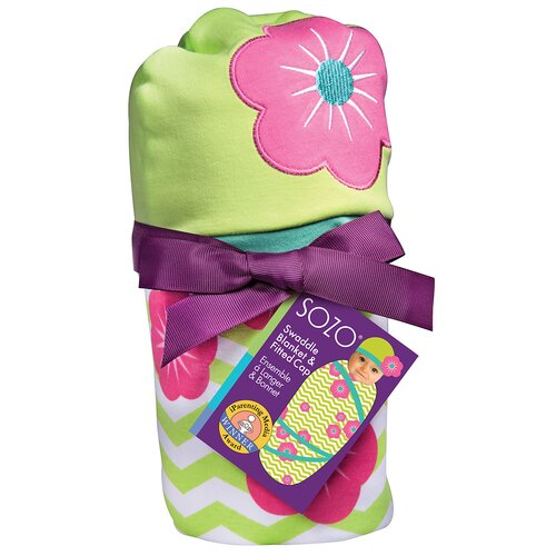 Chevron Floral Swaddle Blanket and Cap Set