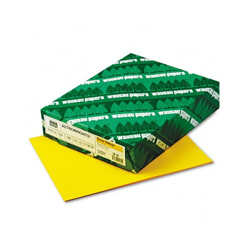 Wausau Papers AstroBright Color Laser/Inkjet Paper, Solar Yellow, 24lb, Letter, 500 Sheets