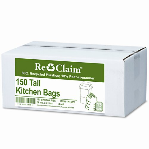 Webster Industries Earthsense Commercial Recycled Tall Kitchen Bags, 13-16 Gallon, 0.8 Mil, 24 X 31, 150 Bags/Box
