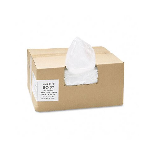 Webster Industries Classic Clear Clear Low-Density Can Liners, 30 Gal, .6 Mil, 30 X 36, 250/Carton