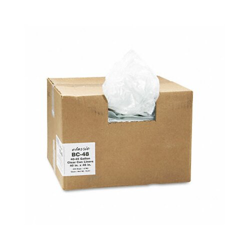 Webster Industries Classic Clear Clear Low-Density Can Liners, 40-45 Gal, .6 Mil, 40 X 46, 250/Carton