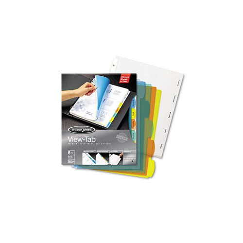 Wilson Jones View-Tab Transparent Index Dividers, 5-Tab, Round, Letter