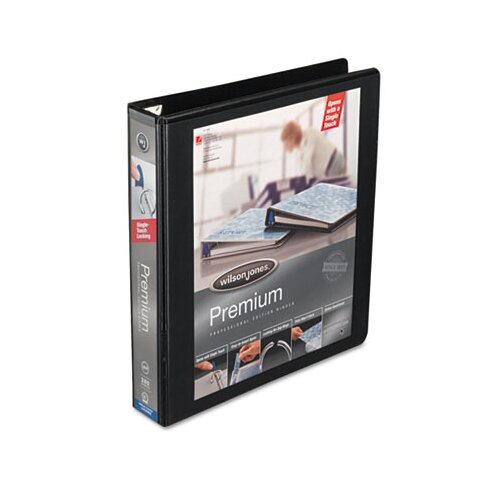 "Wilson Jones Premium Single-Touch Locking Round Ring View Binder, 1-1/2"" Capacity, Black"
