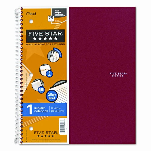 Mead Five Star Wirebound Notebook, College Rule, 3-Hole Punch, Poly Cover, 1 Subject 100 Sheets