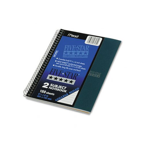 Mead Five Star Wirebound Notebook, College Rule, Perforated, 6 X 9-1/2, 2 Subject 100 Sheets