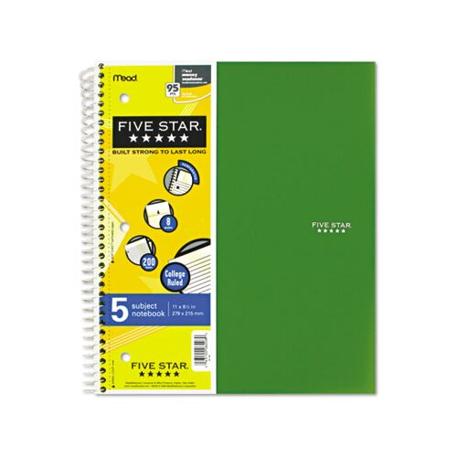 Mead Five Star Wirebound Notebook, College Rule, 3-Hole Punch, 5 Subject 200 Sheets/Pad