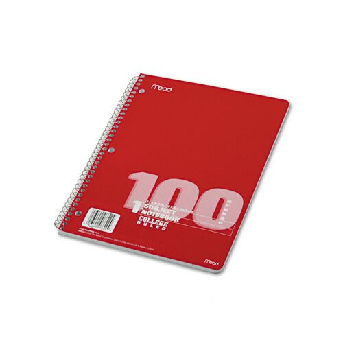 Mead Spiral Bound Notebook, College Rule, 8-1/2 x 11, White, 100