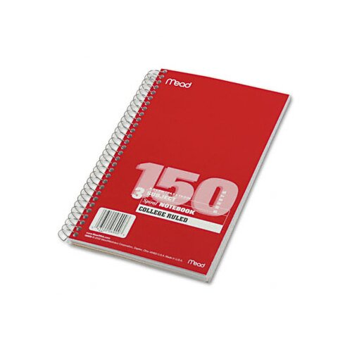 Mead Spiral Bound Notebook, College Rule, 6 X 9-1/2, 3 Subject 150 Sheets/Pad