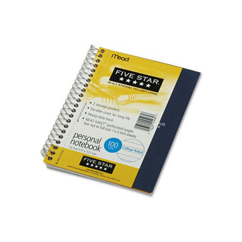 Mead Five Star Wirebound Notebook, College Rule, 5 X 7, Perforated, Poly Cover, 100 Sheets