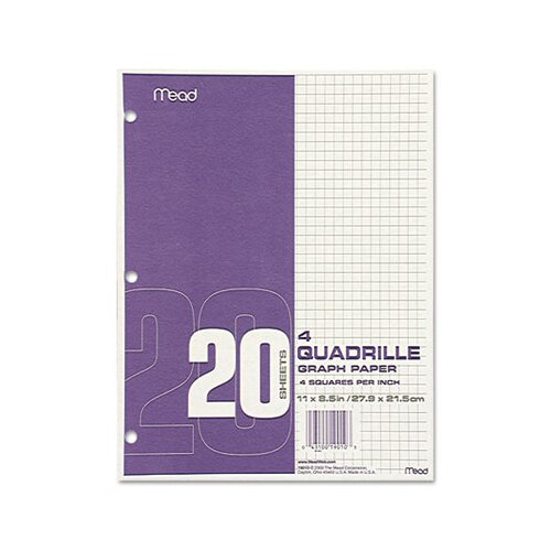 Mead Quadrille Graph Paper, Quadrille, 8 1/2 X 11, 12 Pads/Pack