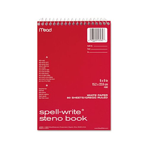 Mead Spell-Write Steno Book, Gregg Rule, 6 X 9, 80 Sheets/Pad