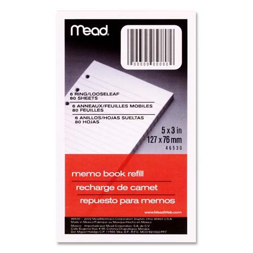 """Mead Memo Book Refill, Narrow Ruled, 6 Hole Punched, 5""""x3"""", 80 Sheets, White"""