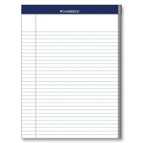 "Mead Legal Pad, College Rule, 70 Sheets, 8-1/2""x11"", White, 3 Hole Punched"