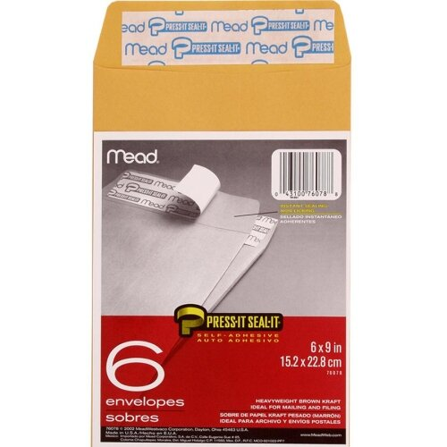 """Mead Press and Seal Envelopes, 6""""x9"""", 6 Count, Brown Craft"""