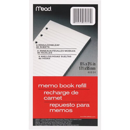 "Mead 80 Count 3-3/4"" x 6-3/4"" Memo Book Refill"