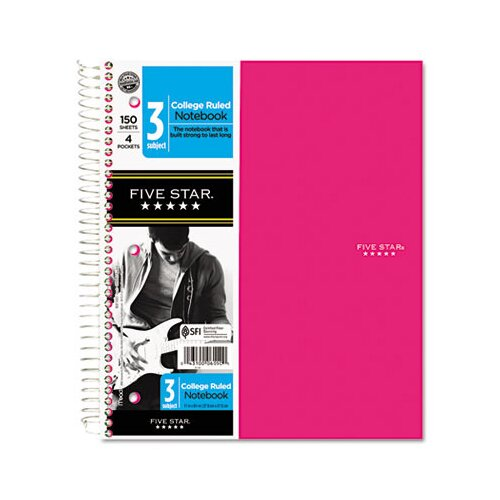 Mead Five Star Trend Wirebound Notebook, 3-Sub, College , 8 1/2 X 11, 3 Subject 150 Sheets
