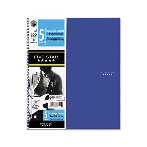 Mead Five Star Trend Wirebound Notebooks, College Rule 8 1/2 X 11, 5 Subject 200 Sheets