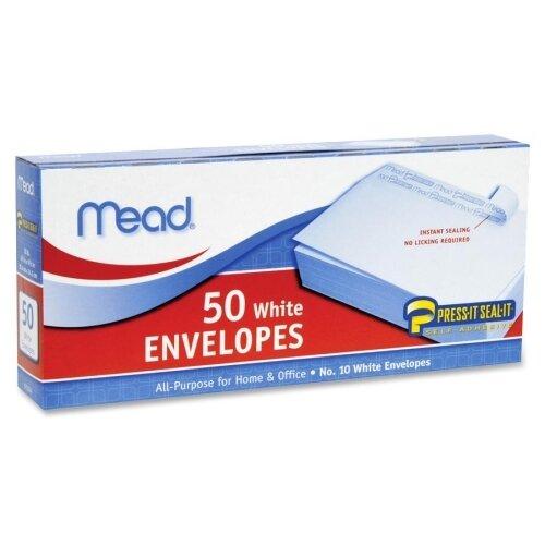 Mead Press-it Seal-it Business Envelope, 4 1/8 x 9 1/2, 20 lb, White, 50/Box