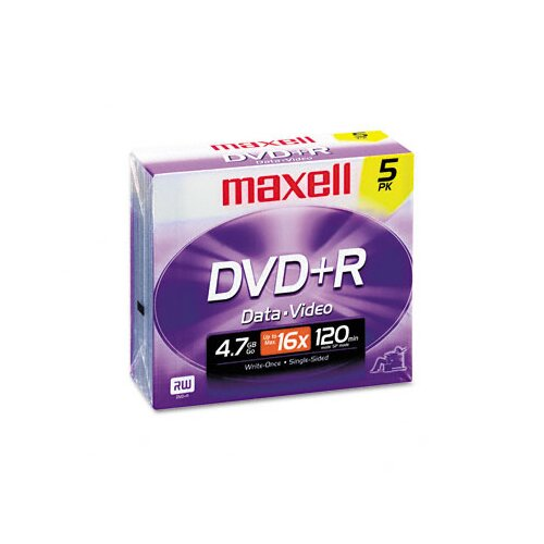 Maxell Corp. Of America Dvd+R Discs, 4.7Gb, 16X, 5/Pack