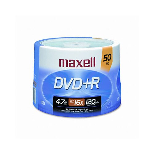Maxell Corp. Of America DVD+R Discs, 4.7GB, 16x, Spindle, Silver, 50/Pack