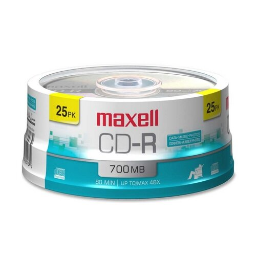 Maxell Corp. Of America CD-R, 80 Min/700MB, 48X, Branded, 25/PK