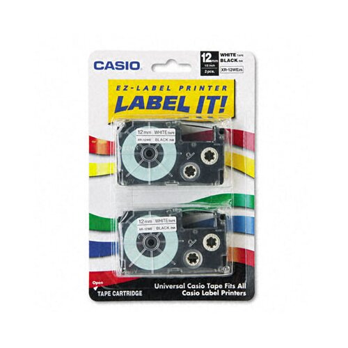 Casio® 12WE2S Tape Cassettes For Kl Label Makers, 12Mm X 26Ft, 2/Pack