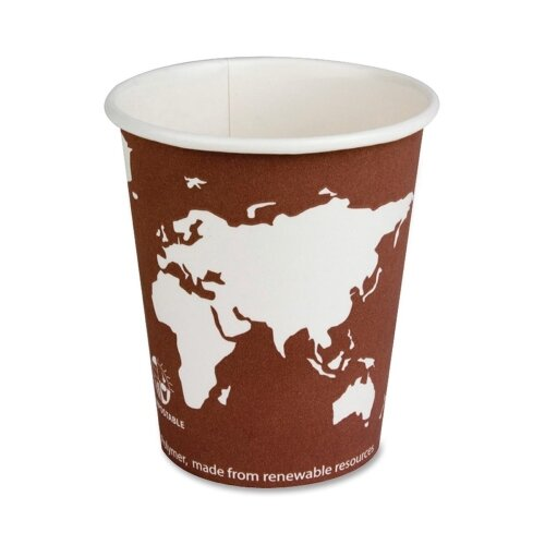 Eco-Products, Inc World Art Renewable Resource Compostable Hot Drink Cups, 8 Oz, 50/Pack