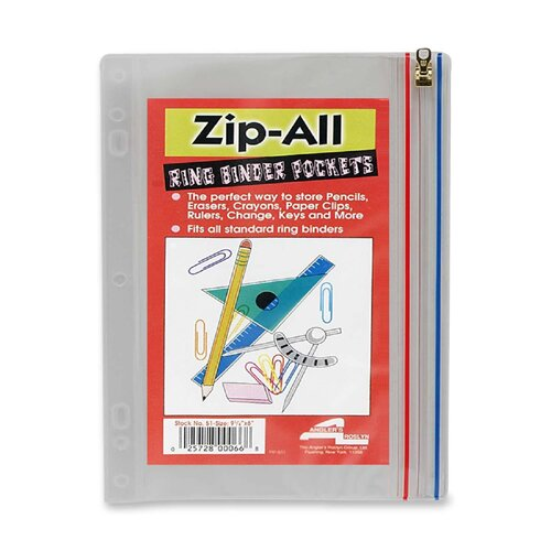 "Anglers Company Ltd. Zip-All Ring Binder Pockets, 10-1/2""x8"", Clear"