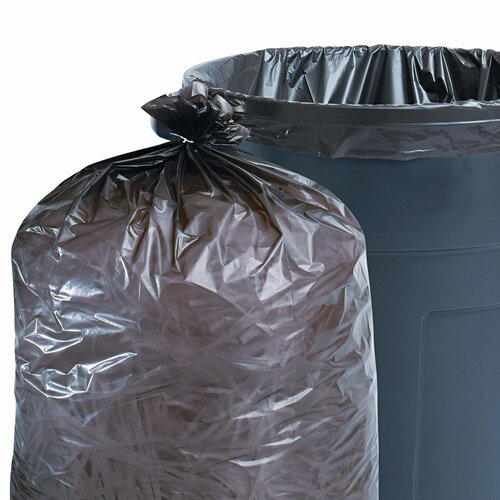Stout Total Recycled Plastic Trash Garbage Bags, 56 Gal, 1.5Mil,43X49, 100/Carton
