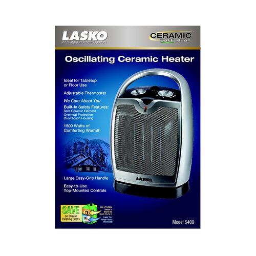 Lasko 1,500 Watt Ceramic Compact Electric Sapce Space Heater with Adjustable Thermostat
