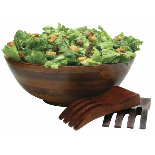 "Lipper International Cherry 13.75"" 3 Piece Salad Bowl and Salad Hands Set"