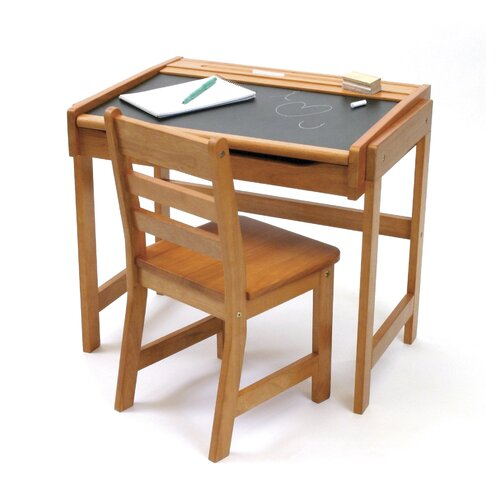 "Lipper International 25"" W Art Desk with Chalkboard Top and Chair"