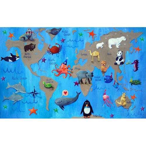 "CiCi Art Factory Wit & Whimsy 22"" My World Giclee Canvas Art"