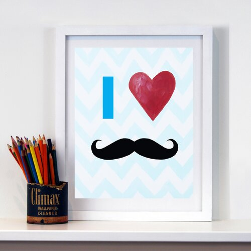 CiCi Art Factory I Heart Mustaches Paper Print