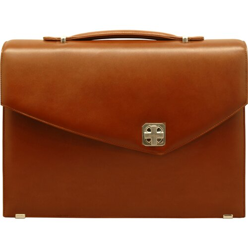 Sienna Leather Double Gusset Laptop Briefcase