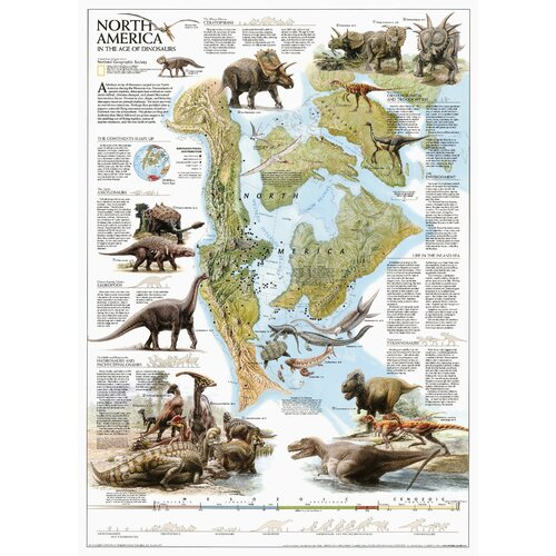 National Geographic Maps Dinosaurs of North America Poster Map